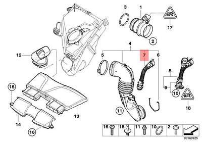 Genuine BMW E70N Intake Silencer/Filter Cartridge/HFM Pipe