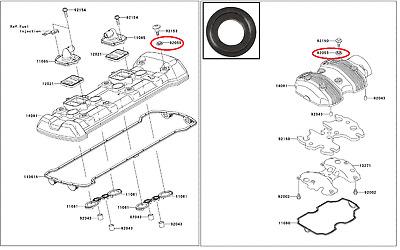 Bague/Joints O-ring Pr Culasse Kawasaki ZX 1000 Ninja