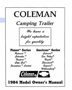 COLEMAN Popup Trailer Owners Manual-1984 Pioneer Redwood