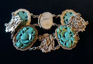 Rare Antique Silver Chinese Export Hand Painted Porcelain Bracelet Needs Repair