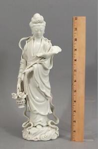 Antique Chinese Blanc de Chine White Porcelain Guan Yin & Lotus Flower Figurine