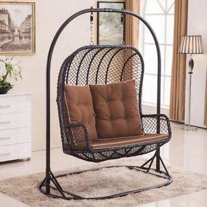 LARGE Double Egg Chair Swing Wicker Rattan Hanging Garden