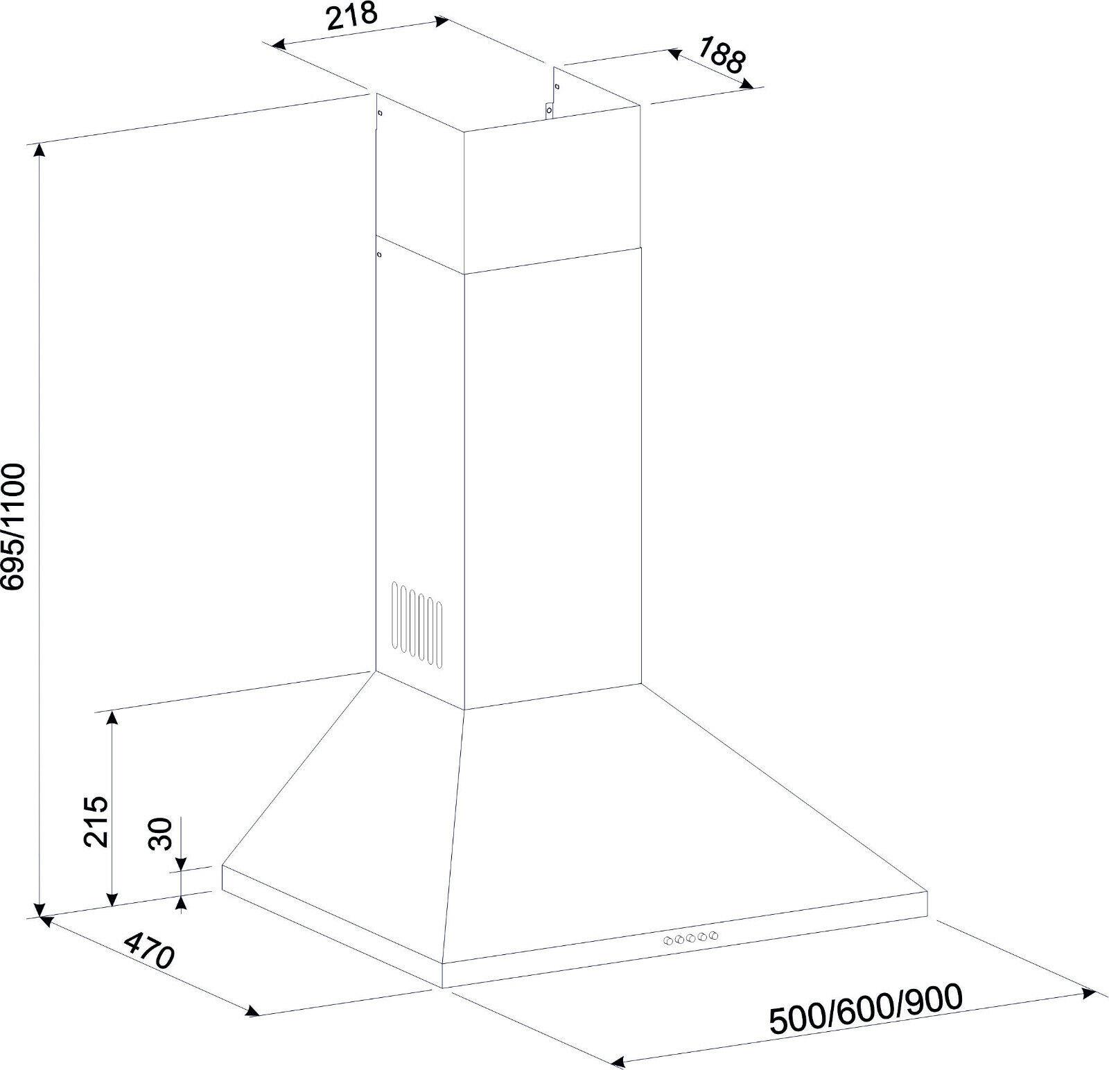 begrenzt Gurari Dunstabzugshaube 90cm Saugstark 1000m³/h