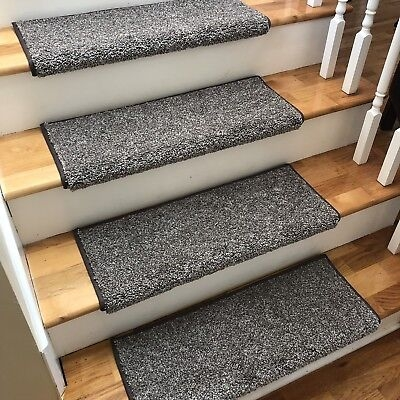 New 27 Wide Driftwood Greys Brown True Bullnose Carpet Stair | Carpet Stair Treads Near Me | Flooring | Stair Runner | True Bullnose | Indoor Stair | Non Slip