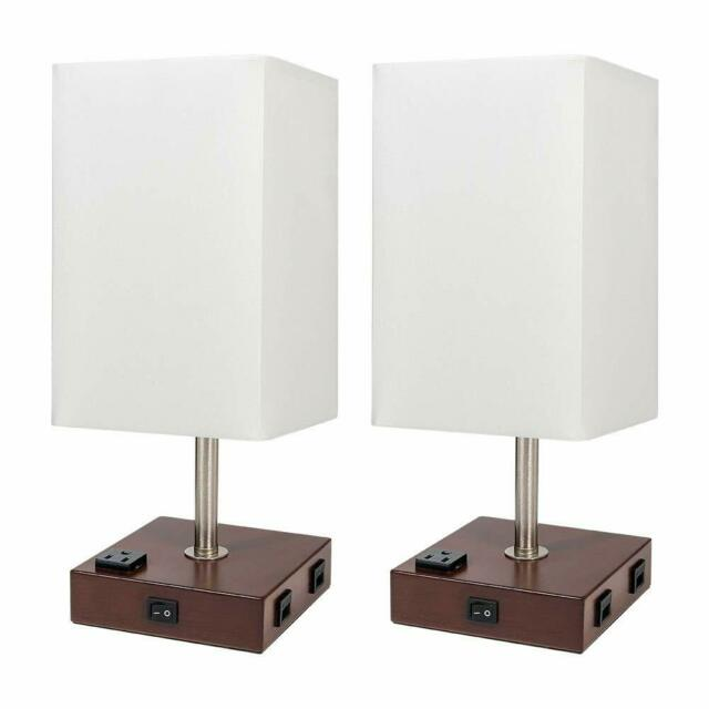 2 set bedside nightstand end table lamp wood rustic home w usb port and outlet