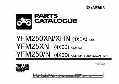 Yamaha ATV Parts Manual Book 2001 Bear Tracker YFM250XN