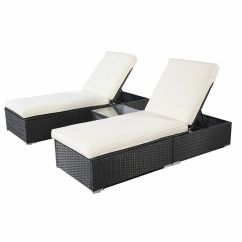 Wicker Chaise Lounge Chairs Outdoor Bouncy Baby Chair Rattan Sofa Bed Set Patio