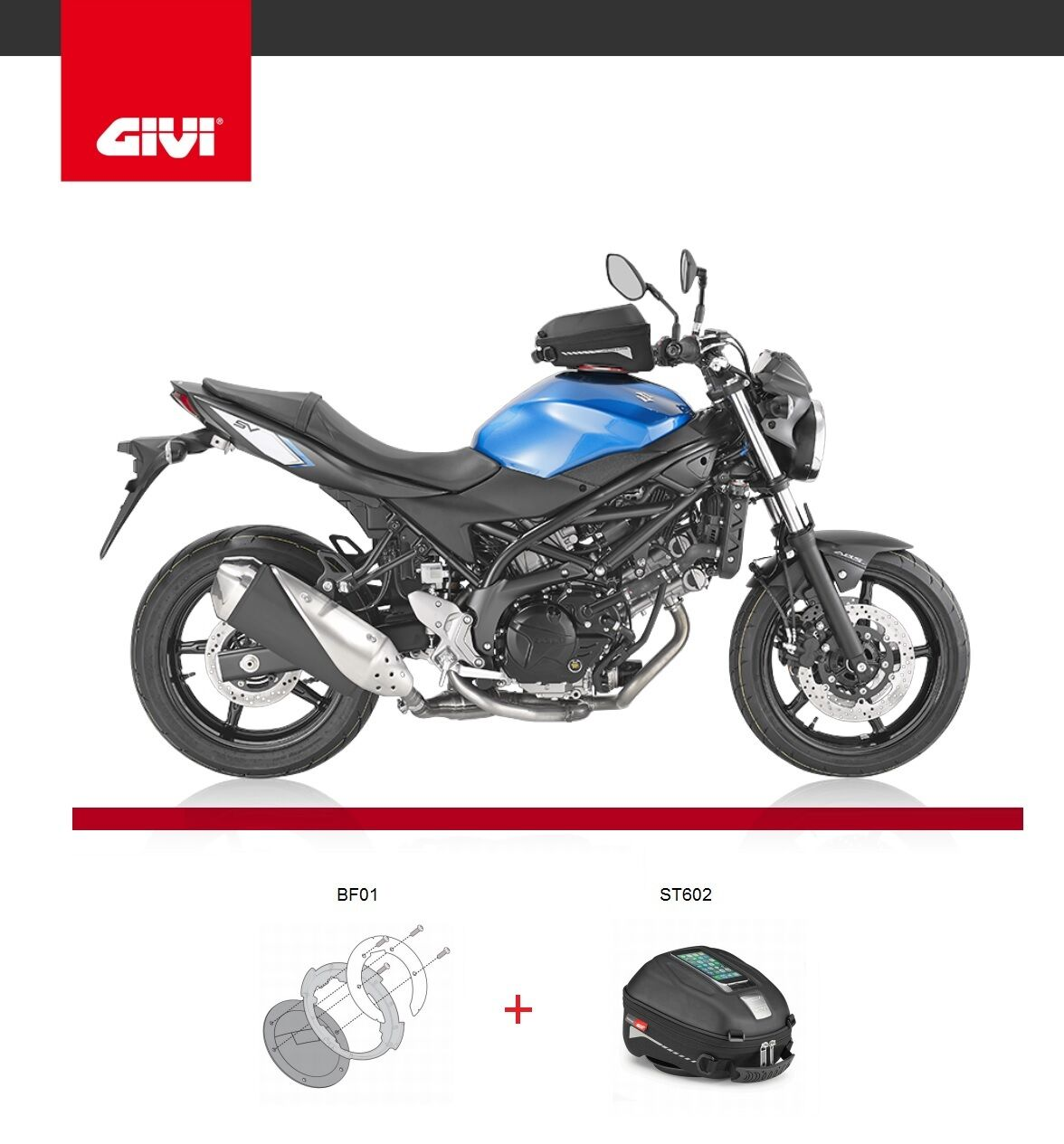 hight resolution of suzuki sv650 2016 tank bag givi st602 tanklock bag 4 litre bf01 fitting ring ebay