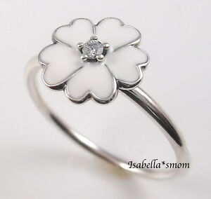 PRIMROSE Genuine PANDORA Silver/WHITE ENAMEL/Cz FLOWER