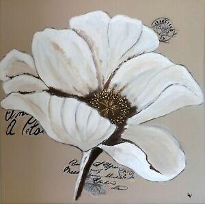 details sur tableau peinture acrylique portrait fleur blanche moderne neuf