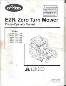 Ariens 1742 2048 1542 1842 1742 EZR Zero Turn Mower Owner
