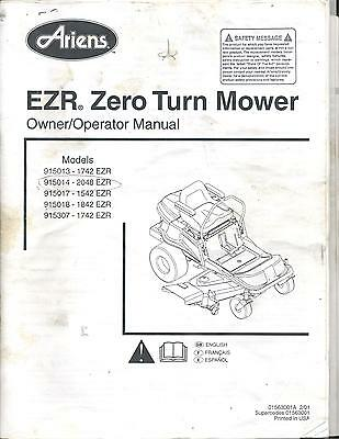 Ariens 1742 2048 1542 1842 1742 EZR Zero Turn Mower Owner