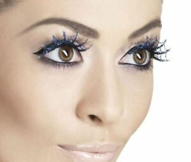 Image Is Loading Glittery Spiderweb Eyelashes Halloween Gothic Vampire Lashes Spider