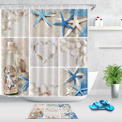 waterproof collage of beach seashells shower curtain bathroom decor mat hooks ebay