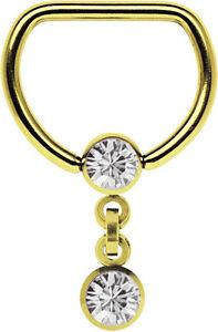 Brust Piercing D-Ring mit Steg und Kette mit zwei 5mm Zirkonia Kugeln vergoldet