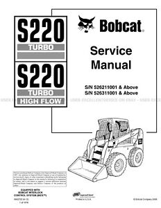 Bobcat S220 Turbo Highflow Skid Steer Printed Service