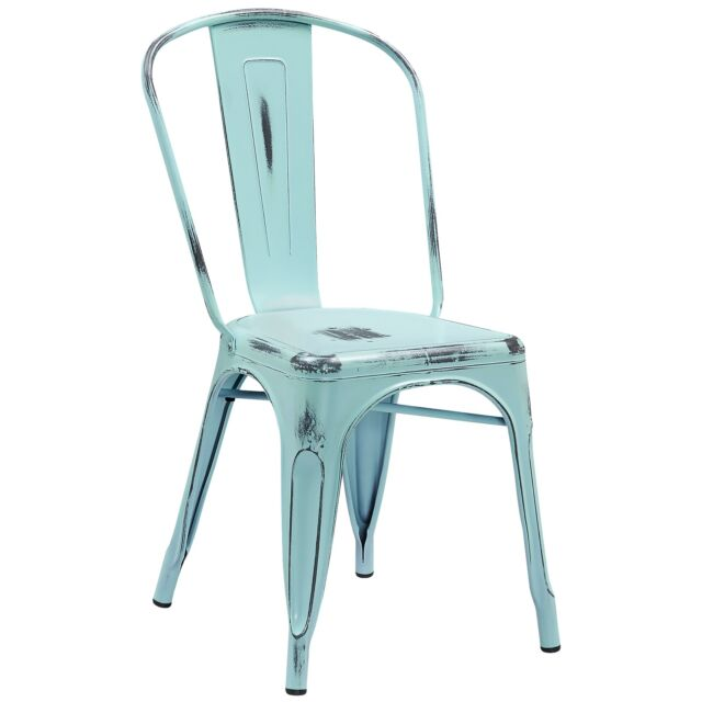 metal restaurant chairs antique dining chair styles tolix style distressed dream blue outdoor ebay
