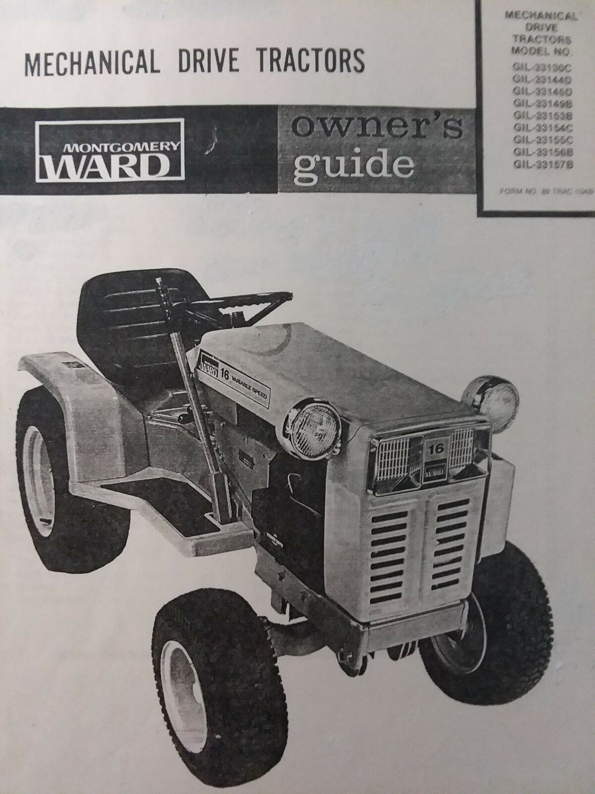 hight resolution of montgomery ward gilson gear drive 16 hp garden tractor owners manual gil 33130c for sale online ebay