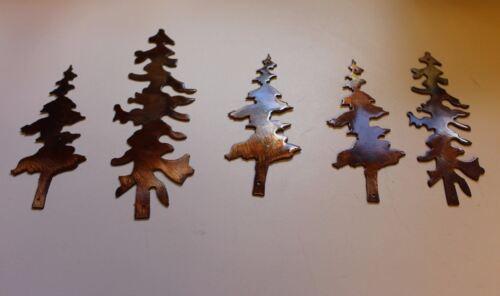Set of 5 Tree's Copper/Bronze Metal Art