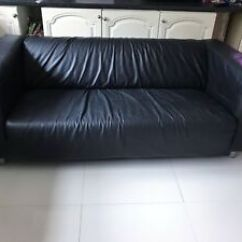 Black Leather Sofa Reclining And Loveseat Set 3 Seater Ebay Image Is Loading