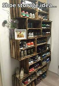details about wooden shoe rack pack of 10 handmade vintage style cottage storage apple crate