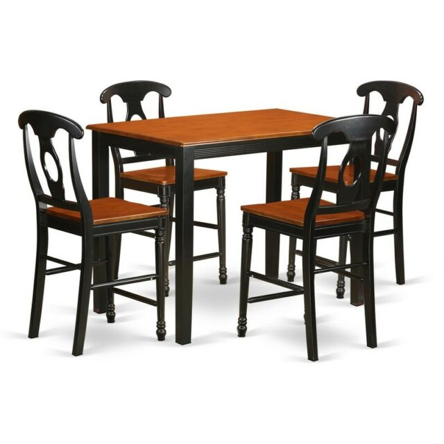 high top table chair set plush leather recliner chairs east west furniture yake5 blk w 5 piece counter height pc and 4 bar stools