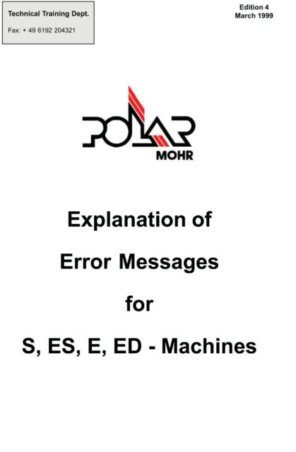 POLAR Cutters Service Manual Error List S-ES-E-ED (pdf