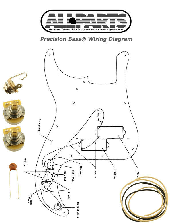 new precision bass pots wire  wiring kit for fender p bass diagram  ep4139000