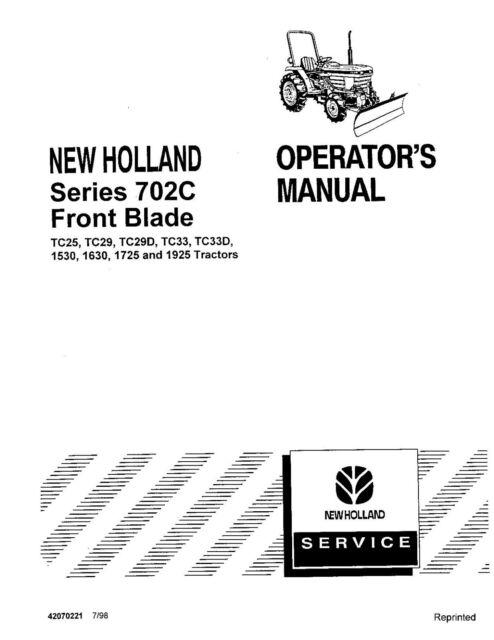 NEW HOLLAND TC25,TC29,TC33 TRACTOR PRODUCT MANUAL OPERATOR