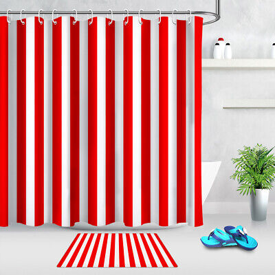 red and white stripes beautiful colors fabric shower curtain set bathroom decor