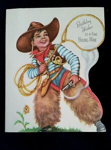"Vintage COWBOY Themed ""Birthday Wishes To A Fine Young Man"