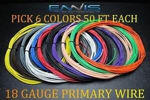 18 GAUGE WIRE ENNIS ELECTRONICS 50 FT EACH PRIMARY CABLE AWG COPPER CLAD 6 ROLLS | eBay