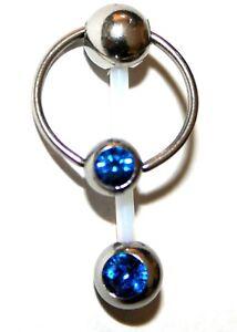 PTFE Christina Piercing mit Kristall und Ring mit Kristall versch. Farben