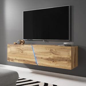 details sur meuble tv a suspendre ou a poser alamara 160 cm blanc noir gris chene led