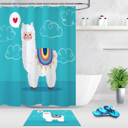 bathroom decor shower curtain love heart alpacas polyester waterproof fabric lb