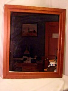 details about vintage mid century maple frame with mirror 26x30 mirror 21 1 2 x 25 1 2