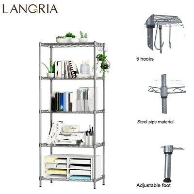 5-Tier Metal Wire Unit Adjustable Shelf Rack Kitchen