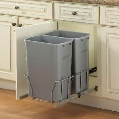Kitchen Garbage Drainer Basket 35 Qt Double Pull Out Trash Can 19x14x22 Steel In Cabinet Bin