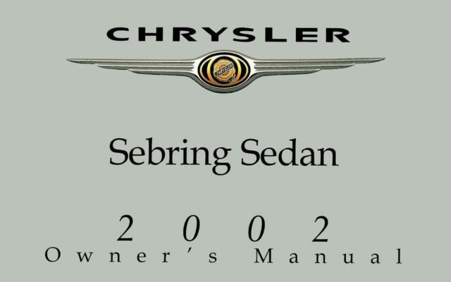 2002 Chrysler Sebring Sedan Owners Manual User Guide