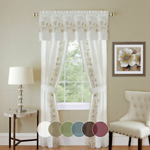 details about 5pc light filtering semi sheer window curtain set panels valance and tiebacks