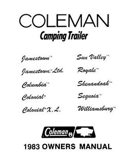 COLEMAN Popup Trailer Owners Manual-1983 Royale Shenandoah
