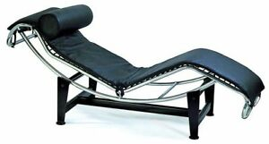 le corbusier chair standing workstation chaise lounge in black genuine top grain leather image is loading