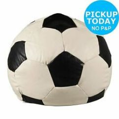 Football Bean Bag Chair Folding Diy Extra Large Leather Eff Beanbag Home Black White D70cm 2kg