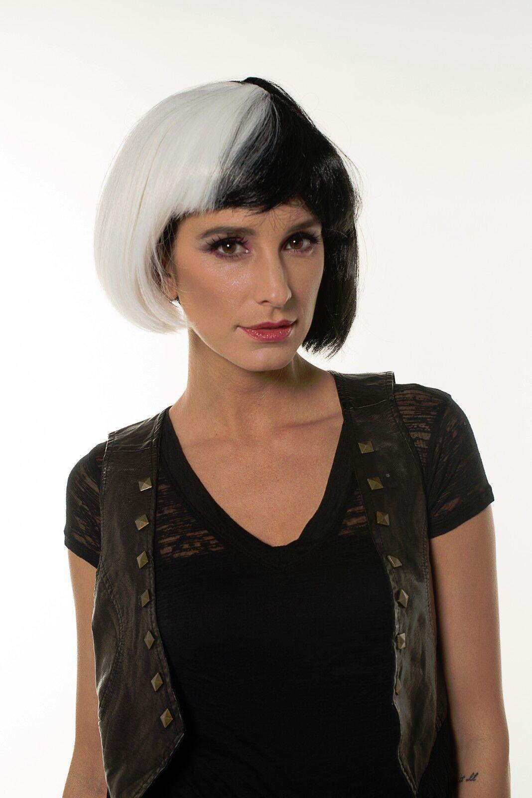White Black Diva Wig 101 Dalmations Cruella De Vil Women Dr Black Jack H0288 adc8b0cc56