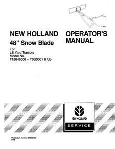 NEW HOLLAND LS25 LS35 LS45 LS55 48` LS Yard Tractor Snow