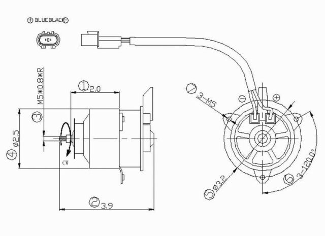Left Auxiliary Fan Motor For 1997-2002 Mitsubishi Mirage