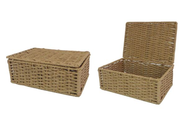 Natural Small Paper Rope Storage Baskets Boxes Hampers With Lids Wb-9694s