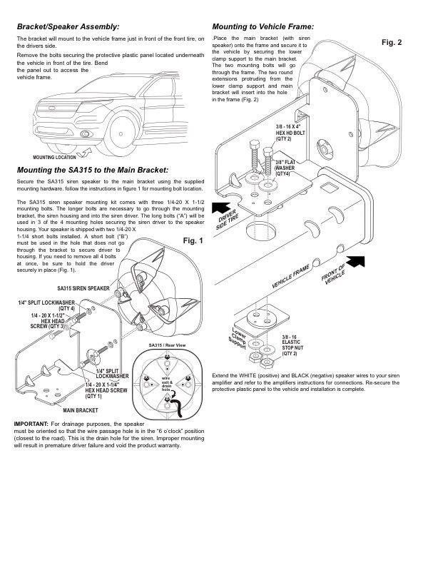 whelen sak44 speaker bracket for ford explorer