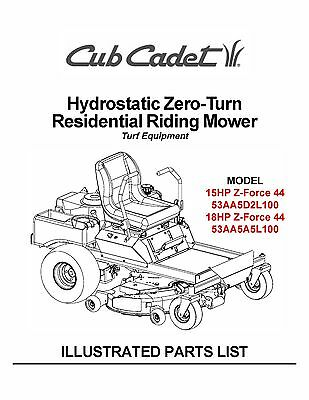 Cub Cadet Hydrostatic Zero-Turn Riding Mower Parts Manual
