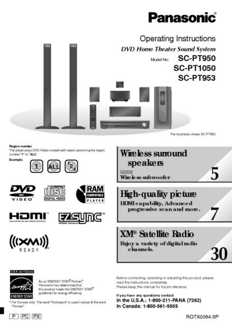 Panasonic SC-PT950 SC-PT953 SC-PT1050 Home Theater System